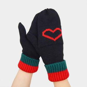 Knit Heart Mitten Gloves